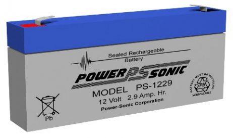 Power-Sonic 12v 2.9Ah Rechargeable SLA Battery PS-1229