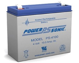 PS-4100, Power-Sonic 4v 10Ah Rechargeable SLA Battery