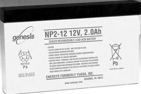 EnerSys 12v 2Ah Rechargeable SLA Battery (np2-12)