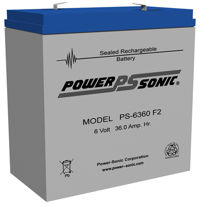Power-Sonic 6v 36Ah Rechargeable SLA Battery PS-6360